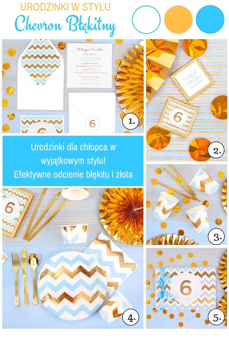 Błękitno-złote dekoracje na urodziny chłopca