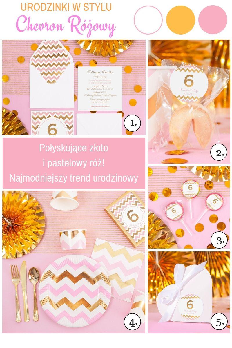 Różowo-złote dekoracja urodzinowe dla dziewczynki motyw zygzaków
