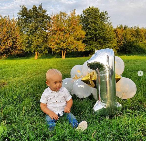 Balony na Roczek chłopca niebiesko-srebrne