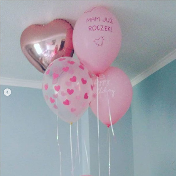 Balony na Roczek dziewczynki różowe