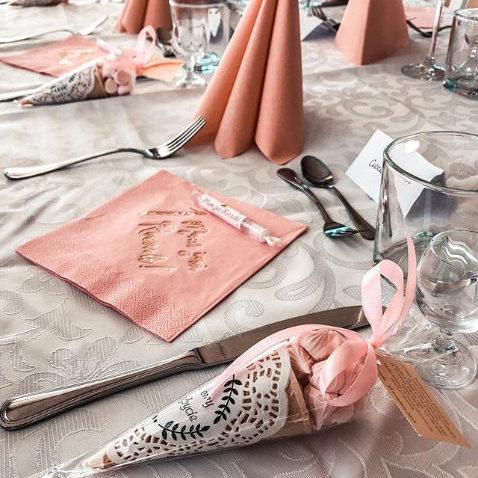 Serwetki z napisem na Roczek różowe
