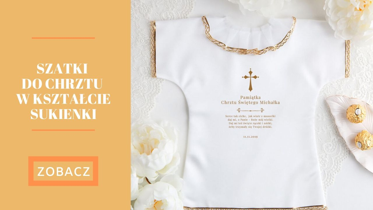 szatka do Chrztu z imieniem w kształcie sukienki