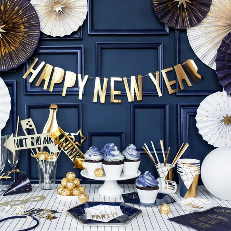 Złoty baner z napisem Happy New Year