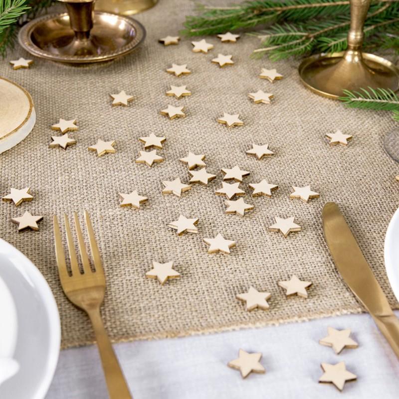 Drewniane konfetti w kształcie gwiazdek
