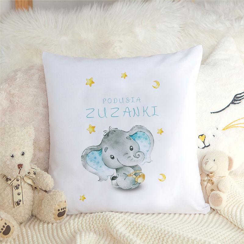 Poduszka dla dziecka z grafiką słonika i personalizacją