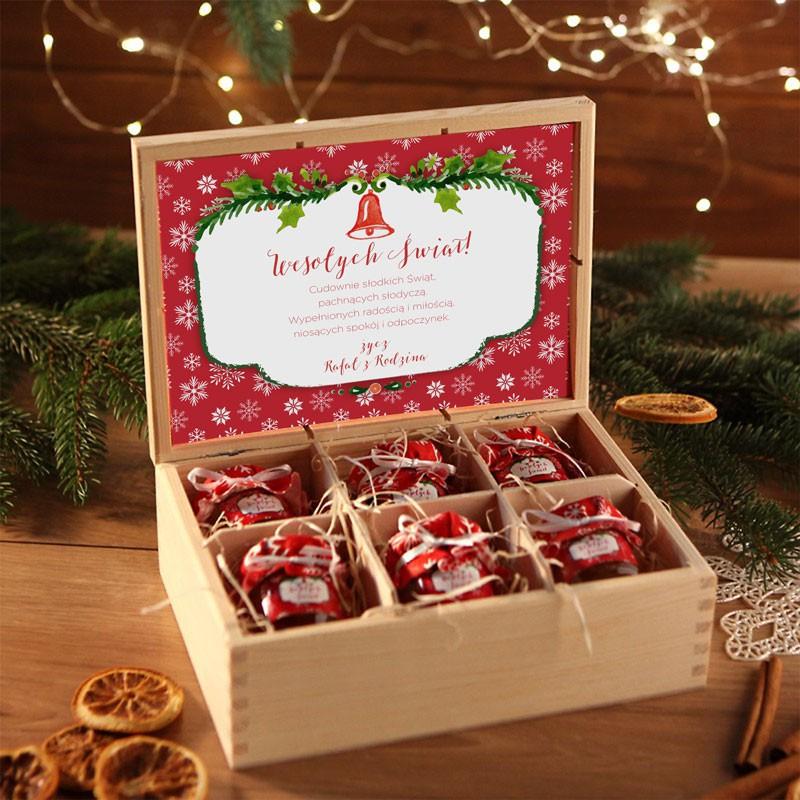 Miodowy zestaw świąteczny w drewnianej skrzyni