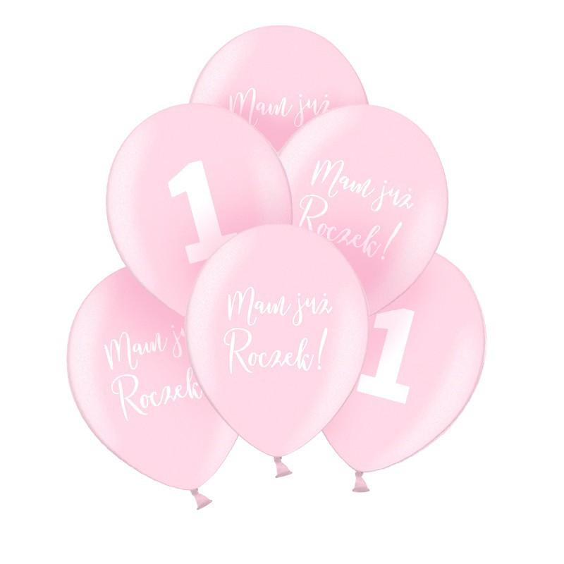 Balony na roczek różowe