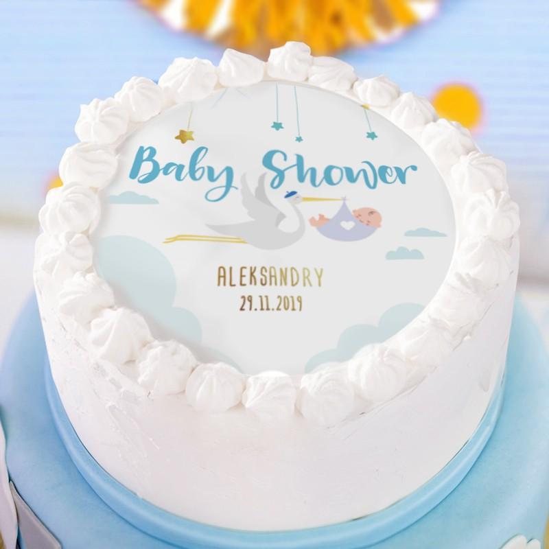 Opłatek dekoracja tortu na Baby Shower