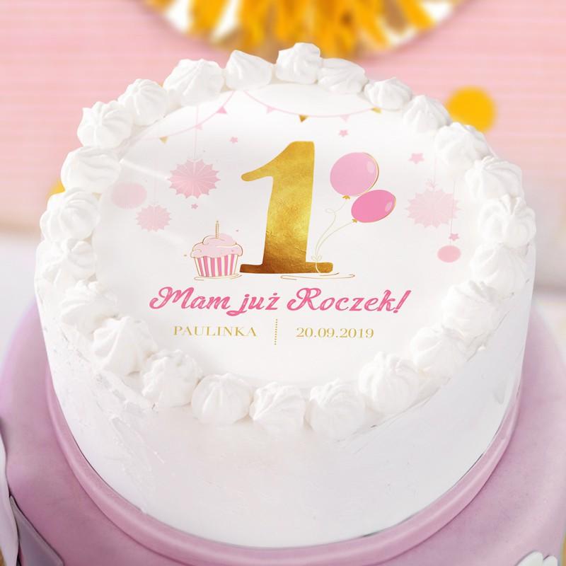 Dekoracja tortu na roczek - opłatek na tort