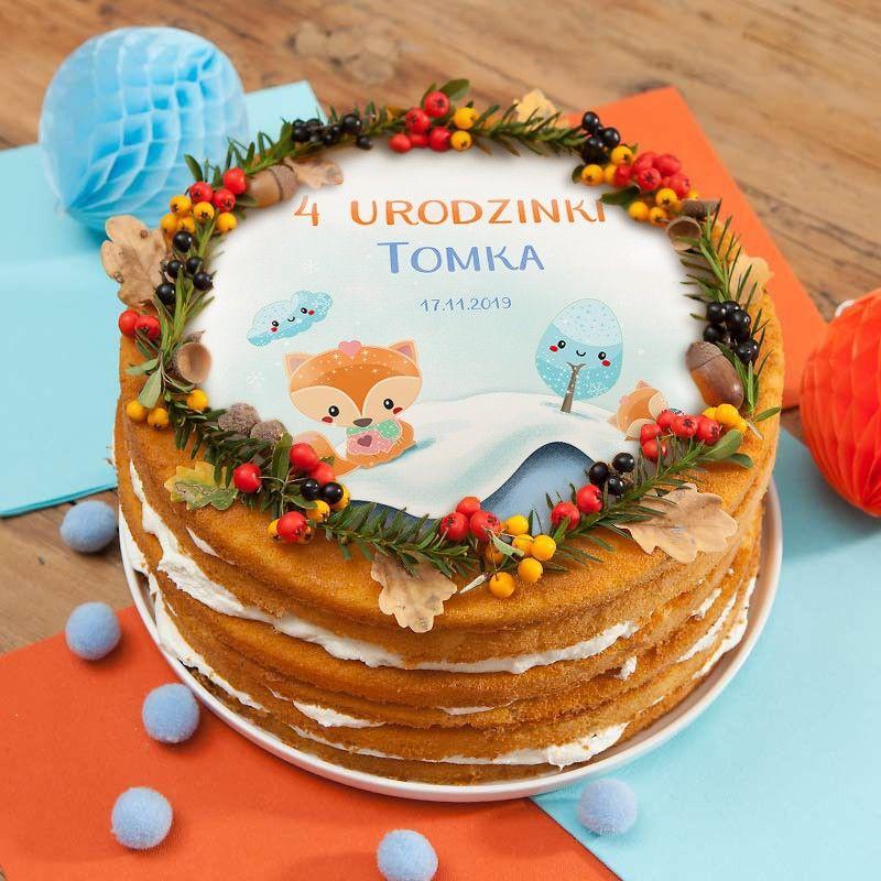 Dekoracja tortu urodzinowe - personalizowany opłatek