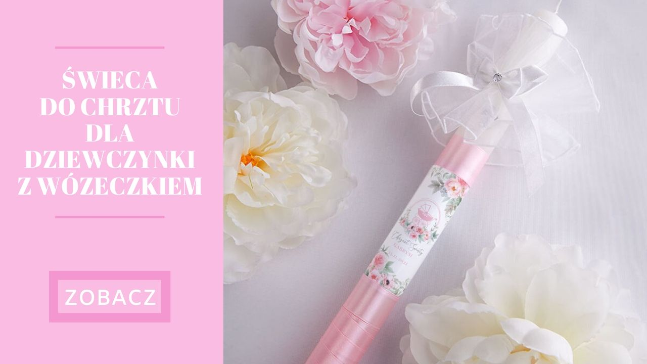 Świeca do Chrztu z imieniem dla dziewczynki różowa
