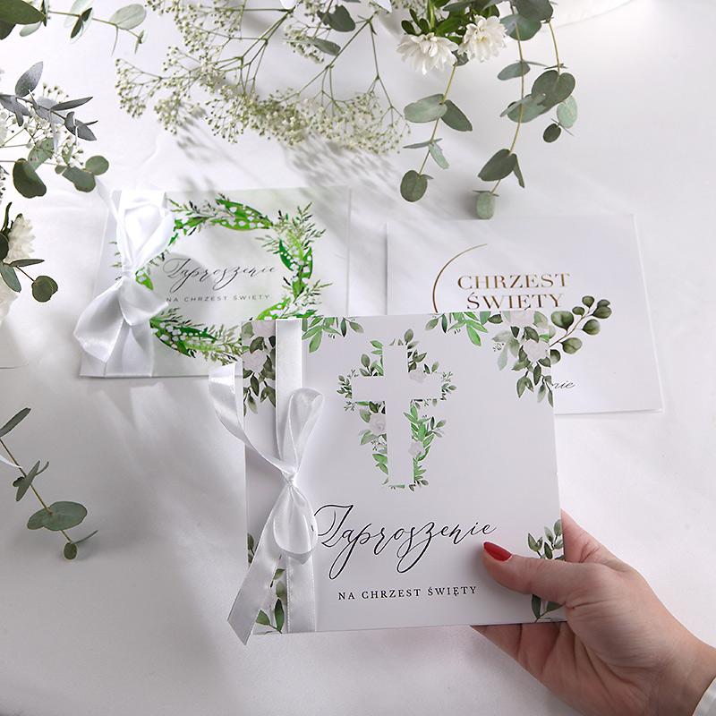 Zaproszenia na Chrzest w odcieniach zieleni